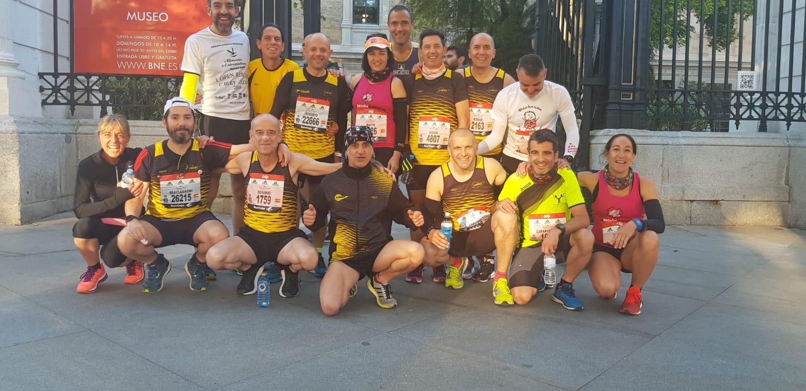 Nuestros veteranos tiñen de amarillo un año más el Maratón de Madrid
