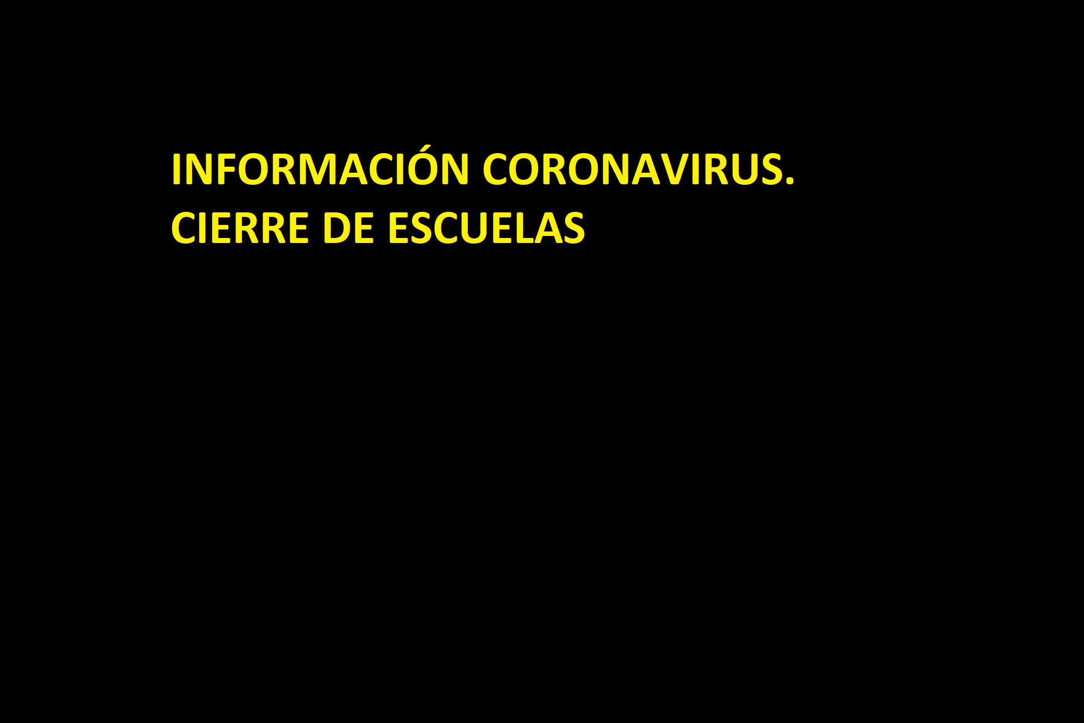 CIERRE DE ESCUELAS POR EL CORONAVIRUS